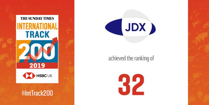 JDX recognised by Sunday Times HSBC International Track 200