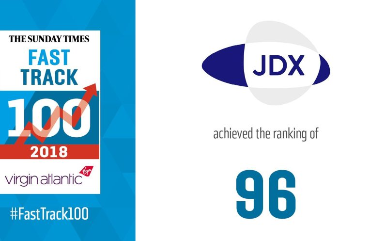 JDX recognised by Sunday Times Virgin Atlantic Fast Track 100 as one of UK's fastest growing Companies