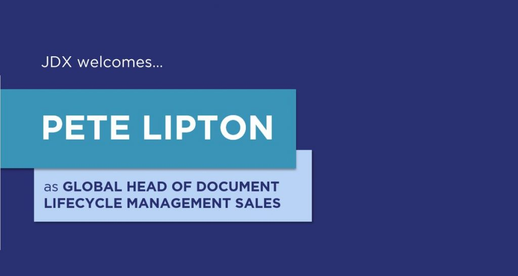 JDX Welcomes Pete Lipton as Global Head of Lifecycle Management Sales